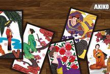 Bijinga Hanafuda / Japanese card game of Bijinga by Akiko Takemoto