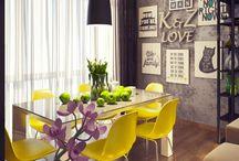 """Квартира""""Лето высокого стиля"""" / Яркие краски контрастирующие с текcтурой бетона, стильные сочетания мебели и аксессуаров все это дизайнерские решения проекта """"Лето высокого стиля"""", созданного в рамках новейших тенденций в мире последних трендов!"""