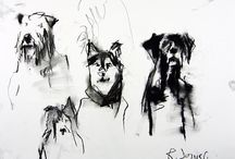 Abstract Dog Paintings & Drawings By Robert Joyner / Abstract Dog Paintings By Robert Joyner created with acrylics and mixed media on paper & canvas.