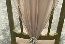 Chair Dressing Chair drape in nude with brooch #chairdressing #chaircoverskent #flowersandsparkle #chairsashes
