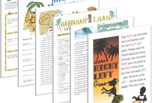 Hawaiian Luau Party Printable Games / Whether you're on the beach or just hosting a backyard party, our Hawaiian Luau party games bring the spirit of The Big Island to you!  Take a plunge and try our Hawaiian version of The Newly Wed Game. For lots of laughs, get twisted in our Hawaiian Luau mad libs game. If you need family friendly games or something a little dirtier, we've got everything you need!  Get your tiki torches out and get ready for a party you'll never forget with our unbeatable Hawaiian Luau party games!
