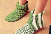 Crochet shoes, slippers, socks