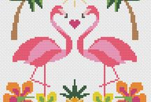 X STITCH FLAMINGO TROPICAL