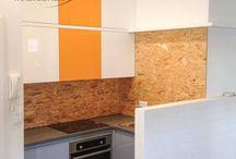 Kuchnia z płytą OSB / OSB na ścianie? Dlaczego nie! Więcej: https://www.facebook.com/msMeble/posts/1037649592969293