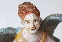 Paper Mache Angel / Angels made of paper mache
