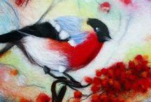 """Шерстяная акварель / Сегодня Abbigli.com знакомит вас с картиной """"Снегирь"""", выполненной в технике """"шерстяная акварель"""". Картина украсит собой любой уголок вашего дома или офиса. Снегирь — не просто символ удачи. Появление этой красногрудой птицы символизирует встречу с божеством зимы и в мыслях переносит нас в волшебный мир детства! Стоимость 3 000 рублей, размер 20*30 см, оформлена в рамке под стеклом, в стоимость включена пересылка. Приобрести можно здесь: http://abbigli.com/p/snegir/ #Abbigli"""