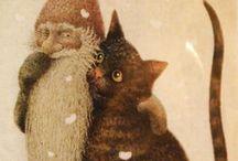 lennart helje / joulukortit: tonttuja ja eläimiä