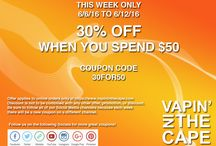 Vapin Deals & Coupons / A place for coupons to help you save some money on vape supplies at http://www.vapininthecape.com