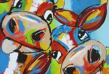vrolijke schilderijen koe