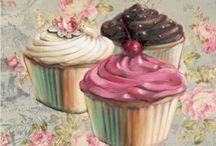 Láminas cupcake, tortas, cocina decoupage