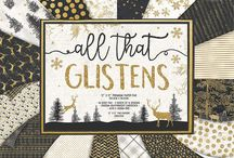 First Edition All That Glistens / Add a touch of sparkle to your Christmas crafts with the Majestic all that glistens papers from First Edition. Featuring stunning Gold foil and glitter designs alongside illustrations of stags, pine trees, and other festive patterns, these stylish and contemporary festive papers are perfect for all of your Christmas crafting.