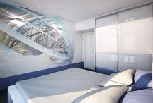 Ložnice s 3D tapetou / Futuristický design vznikl použitím kombinace bílé a modré barvy a 3D tapety.