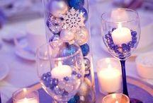 modro bílé a šedé vánoce