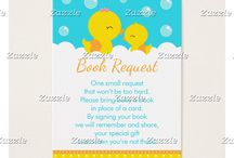 Rubber Ducky Blue and Orange Baby Shower / This collection features a cute rubber ducky baby duckling with its mother. The background consists of a bright blue, yellow polka dots and blue hearts.