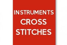instruments cross stitches