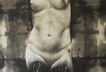 serie negra / paint on old linen