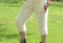 Pants, Trousers knitted in Mohair and Wool by EXTRAVAGANTZA