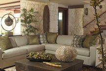 Cream and olive green living room