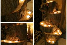 Wood handcrafted candle holder / My father made this out from an old tree we had in our backyard. We suited it in our shop, so it can decorate a null corner of the surroundings.