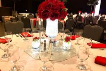 Centerpiece / Red and silver centerpiece