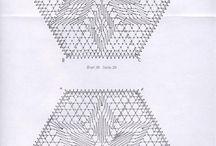 Ideer til Kniplede firkanter, femkanter og sekskantet