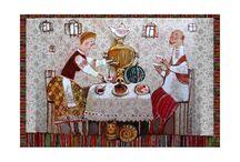 Slavic folklore / Slavic folklore on postcards
