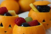 Orange Halloween fruit cups