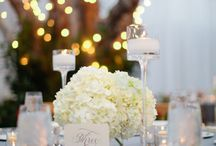 Brittany Manor Wedding / Hydrangeas, fairly lights and vintage decor
