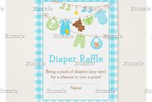 Cute Blue and Green Baby Clothes Line Baby Shower / This collection features a blue and green baby line with baby clothes and a teddy bear. The background is blue gingham.