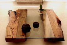 fa-üveg asztalok