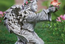 Solar Angels & Fairy / Enjoy these peaceful guardian #angel and precious #solar #fairy lights every day and night when they light up your garden. Some are #statues and others are color changing solar lights.