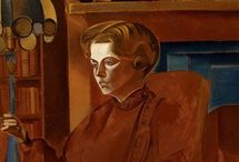 Wyndham Lewis, Red Portrait, 1937 / A lesser well known portrait by Wyndham Lewis, this painting provides an interesting example of our 20th Century collection of paintings.  / by The Courtauld Education