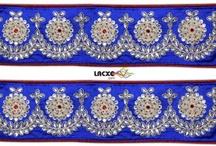 Lacxo Kundan and moti  lace