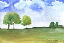 Pinturas en acuarela del paisaje