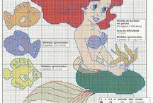 punto croce sirenetta e princesses