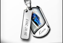Your Story Keyrings / Your photo personalized key rings, date plate and coloured stones.