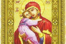 CROSS STITCH VIRGIN MARY-JESUS CHRIST