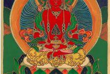 Keleti mitológia / Bizonyos szempontokból közel áll hozzám a buddhizmus, bár nem tartozom a szó szoros értelmében vett követői közé.. A tibeti buddhista ikonográfia nagy hatással van rám, ezek a motívumok, mitológiai alakok pedig álmaimban is felbukkannak. Hasonlóképpen inspirál a kínai, mongol, indiai képi világ is. Itt egy -egy  olyan, eredeti alkotás alapján készült festmények láthatók, amelyek hatással voltak rám. Különösen egyes  thangkák (tibeti, mongol tekercsképek) inspiráltak.