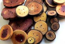Button Love Etsy Treasury / Handmade buttons and project including buttons - all in warm shades of brown with touches of yellow and grey.