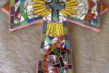 Mosaic Crosses / Feeling inspired to create a mosaic?  Use PromoCode PIN5 to save 5% off all of your handcut, stained glass tiles at www.MosaicTileMania.com.