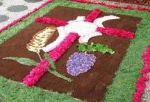 Blumenteppiche - Frohnleichnam / Hier finden Sie farbenfrohe Blumenteppiche und inspirierende Blumen-Arrangements für das Frohnleichnam-Fest.