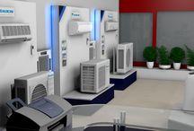 Zariadenie interiéru predajne s klimatizáciami.