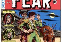 """COMICS EC / Portadas de EC COMICS de """"TALES FROM THE CRYPT"""" (Historias de la cripta) con """"El guardián de la cripta"""", """"THE VAULT OF HORROR"""", (La cámara de los horrores) con El guardián de la cámara) y """"THE HAUNT OF FEAR"""" (La guarida del miedo) con """"La vieja bruja del caldero"""". También contiene portadas de una recopilación de Planeta Agostini titulada """"CLASICOS DEL TERROR DE EC"""", de 15 números. También puede contener portadas de la recopilación """"CLASICOS DEL SUSPENSE"""", basadas en dos colecciones de EC."""