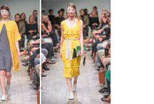 Isabelle de Villiers / Spilt Milk shoot / Modern vintage shoot 2 brands, 3 models Colours palette - navy, yellow, grey, white & powder blue with BOLD RED LIPS