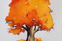 paintings trees leaves flowers etc