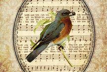 Decoupage/ Transfer- vintage, pájaros, mariposas &