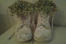 oude schoen en muurvulling