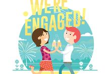 YAY – We're engaged! / I recently proposed to my now fiancé – this was a personal yet exciting illustration for an invitation for family and friends to celebrate with us at our garden engagement party... Good times!