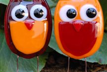 Fused/Stained Glass Owls