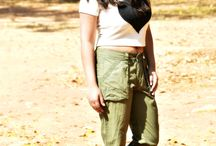 Olive green cropped pant and white crop top